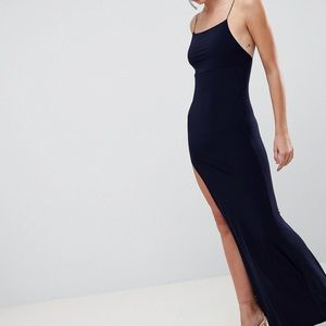 ASOS slinky maxi dress in navy